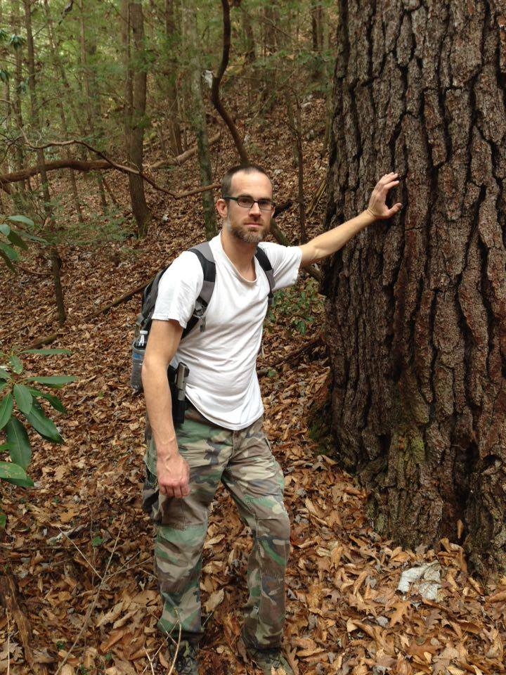 Jeremy with Old Growth Tree on Lick Creek Trail 11-2015
