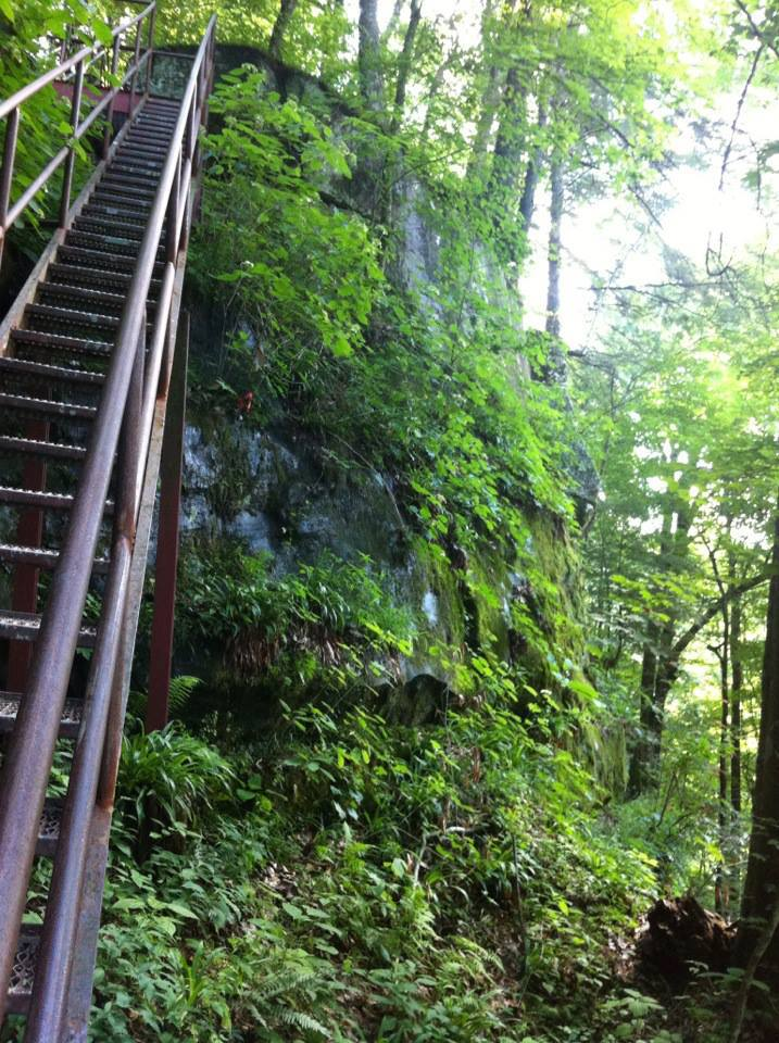 Steep stairs on the trail to Yahoo Falls