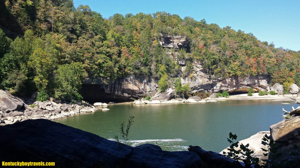 A view of the rock shelters downriver from Cumberland Falls on 10/10/16