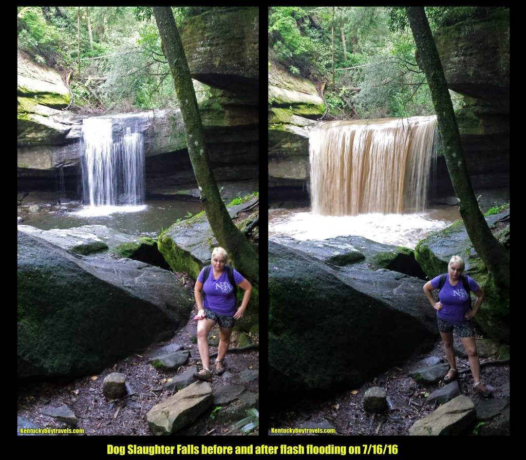 Dog Slaughter Falls before and after flash flooding 7/16/16