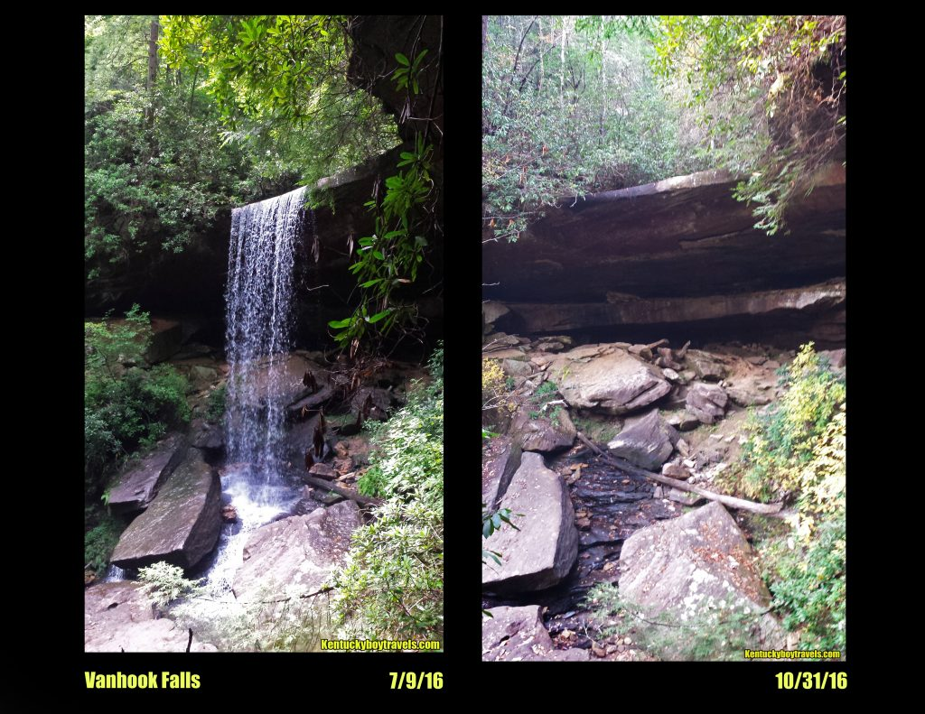 Vanhook Falls before and after