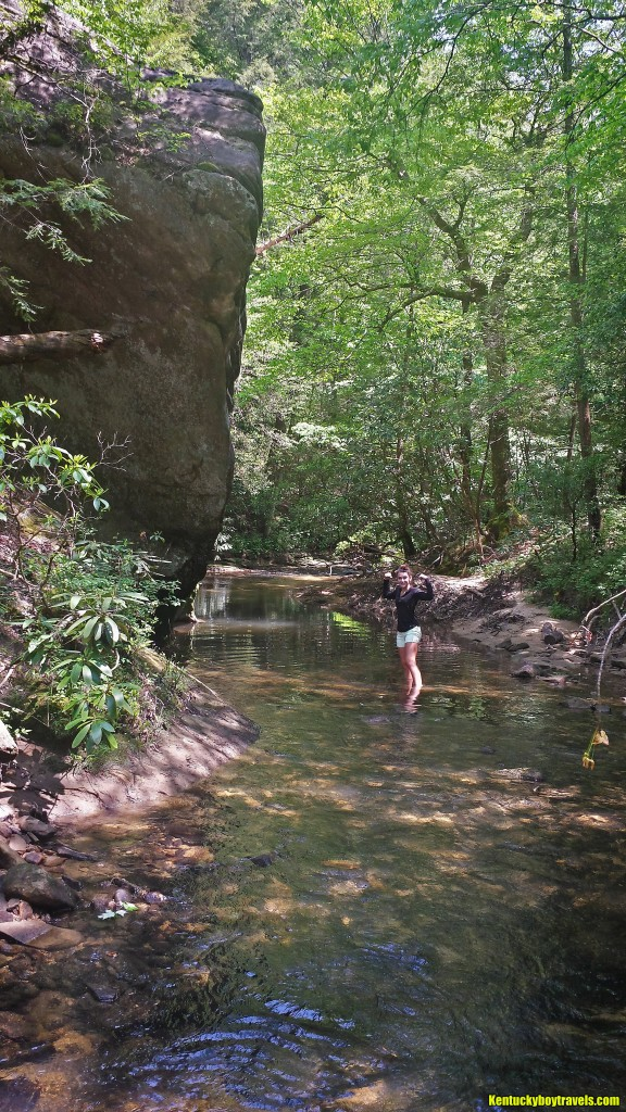 Hailey wading Dog Slaughter Creek