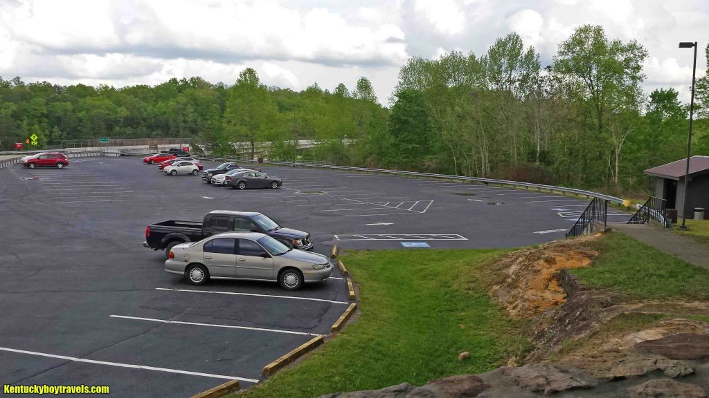 The parking lot as seen from the picnic shelter