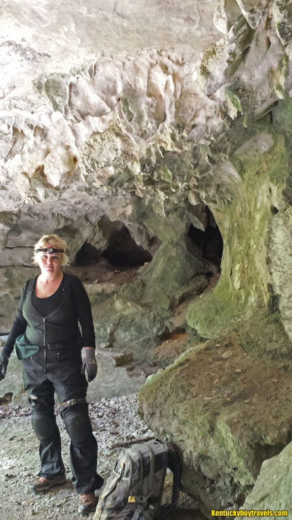 Delania geared up near the entrance of Bob Hail Cave 9/24/16