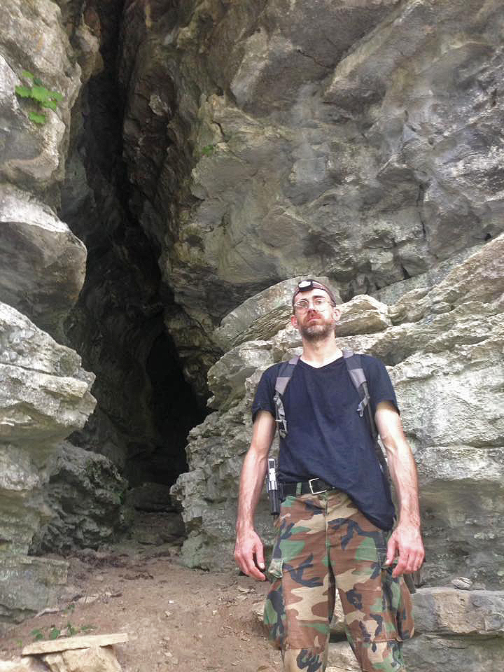 Jeremy Patton standing outside Rams Horn Cave 9/17/16